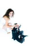 Funny lovely couple. High angle of view Royalty Free Stock Photography