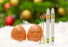 Funny lovely eggs with ski in snow Stock Images