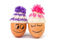 Funny lovely  eggs in winter hats Stock Photography