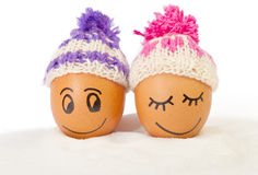 Funny lovely  eggs in winter hats and sugar like a snow Royalty Free Stock Image