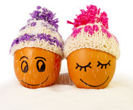 Funny lovely  eggs in winter hats and sugar like a snow Stock Image