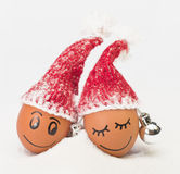 Funny lovely  eggs in winter santa hats Stock Photo