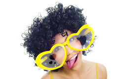 Funny lovely girl. With afro hairstyle stock images