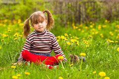 Funny lovely little girl Stock Photos
