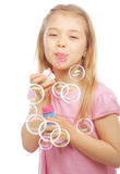 Funny Lovely Little Girl Blowing Soap Bubbles Royalty Free Stock Photography