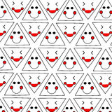Funny and lucky primitive faces pattern. Stock  Illustration Stock Images