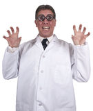Funny Mad Scientist Crazy Doctor Isolated on White. Funny humor, mad scientist, crazy doctor. The man in the white lab coat is going to blow up the world! This Stock Images