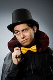 The funny magician man with the wand and hat Stock Images