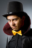 The funny magician man wearing tophat Royalty Free Stock Photos