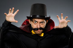 The funny magician man wearing tophat Royalty Free Stock Images