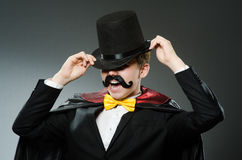 Funny magician man wearing tophat Royalty Free Stock Images