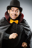 Funny magician man wearing tophat Stock Photos