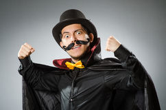 Funny magician man wearing tophat Royalty Free Stock Photos