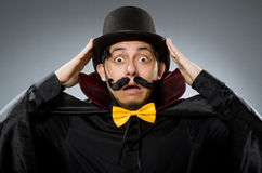 Funny magician man wearing tophat Royalty Free Stock Photo