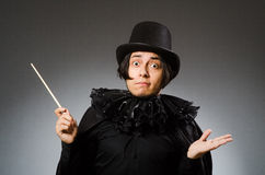 The funny magician wearing cylinder hat Royalty Free Stock Photography