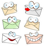 Funny mail cartoon set Stock Photos