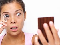 Funny makeup woman shocked Stock Image