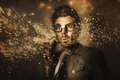 Funny male beauty and fashion nerd Stock Photos
