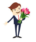 Funny male character suit gives flowers. Vector illustration Stock Photos