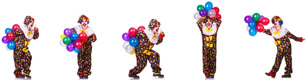 The funny male clown isolated on white. Funny male clown isolated on white royalty free stock photo