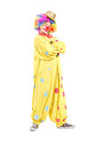 Funny male clown in a yellow costume Stock Photos