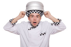 Funny male cook isolated Royalty Free Stock Images
