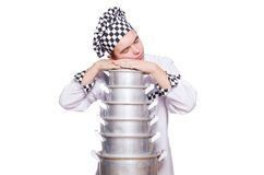 Funny male cook isolated Royalty Free Stock Photos
