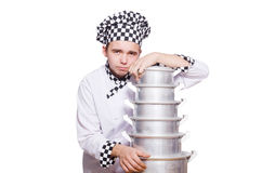 Funny male cook isolated Stock Photos
