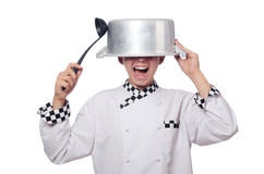 Funny male cook isolated Stock Images