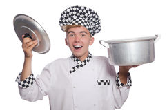 Funny male cook isolated Stock Image