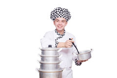 Funny male cook isolated Royalty Free Stock Photo