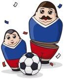 Male Matryoshka Dolls like Soccer Players and Ball, Vector Illustration. Funny male matryoshka dolls painted like soccer players and ball under confetti shower Stock Photo