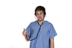 Funny male with stethoscope Royalty Free Stock Images