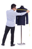 Funny male tailor. On white Stock Photography
