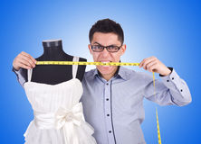 Funny male tailor on white Stock Images
