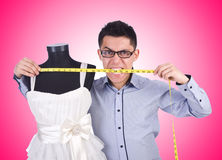 Funny male tailor on white Royalty Free Stock Photography