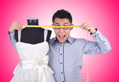 Funny male tailor on white Royalty Free Stock Photos
