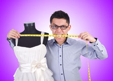 The funny male tailor on white Stock Photo