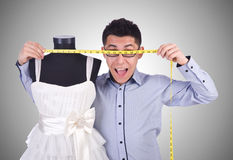 The funny male tailor on white Royalty Free Stock Image