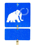 Funny mammoth symbol on road sign Royalty Free Stock Photos
