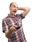 Funny man. With tv remote control Stock Image