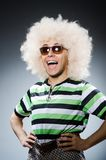 Funny man with afro hairstyle isolated on the Stock Photos