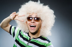 Funny man with afro hairstyle  on white Royalty Free Stock Photography