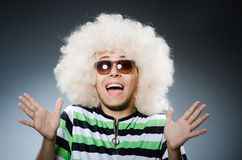 Funny man with afro hairstyle  on white Royalty Free Stock Photo