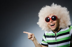 Funny man with afro hairstyle  on white Royalty Free Stock Images