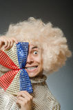 The funny man with afro wig Royalty Free Stock Photography