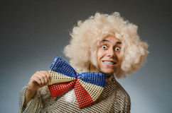 The funny man with afro wig Royalty Free Stock Photo