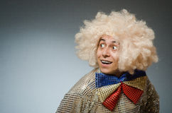 The funny man with afro wig Royalty Free Stock Image
