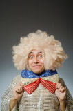 The funny man with afro wig Royalty Free Stock Images