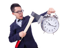 Funny man with axe and clock Royalty Free Stock Images